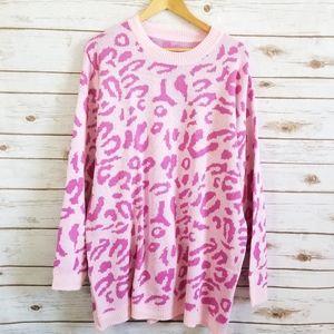 Pink cheetah leopard Sweater Tunic sz XL